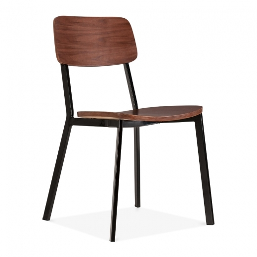Cult Living Hipster Chair With Walnut Veneer Back And Seat - Black