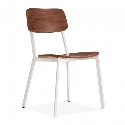 Cult Living Hipster Chair with Walnut Veneer Back And Seat - White