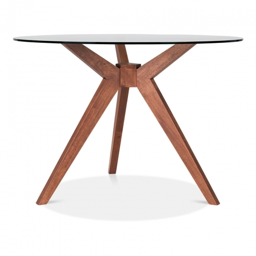 Cult Living Vallentuna Glass Round Dining Table, Walnut 75cm