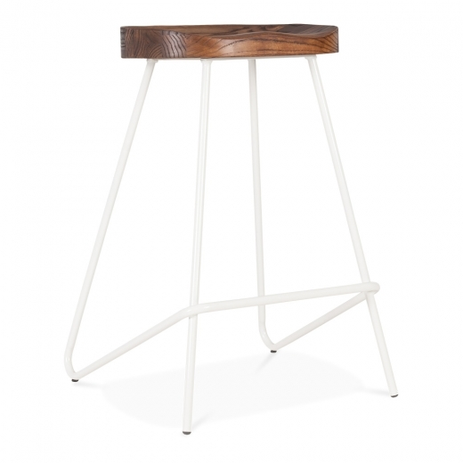 Cult Living Norse Metal Bar Stool, Solid Elm Wood Seat, White 65cm