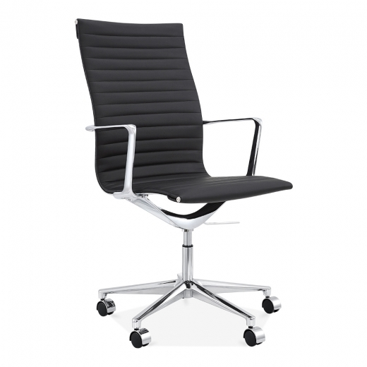 Cult Living Ribbed Office Chair with High Back - Black