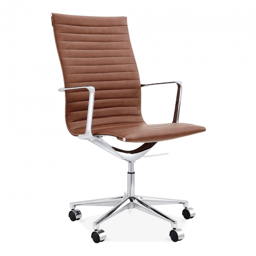 Cult Living Ribbed Office Chair with High Back - Coffee
