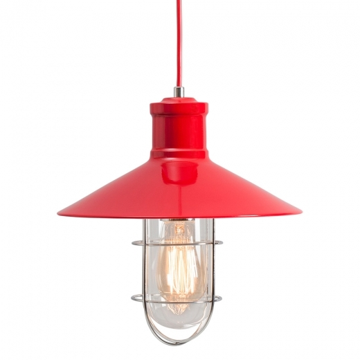 Edison Harbour Caged Pendant Light - Red