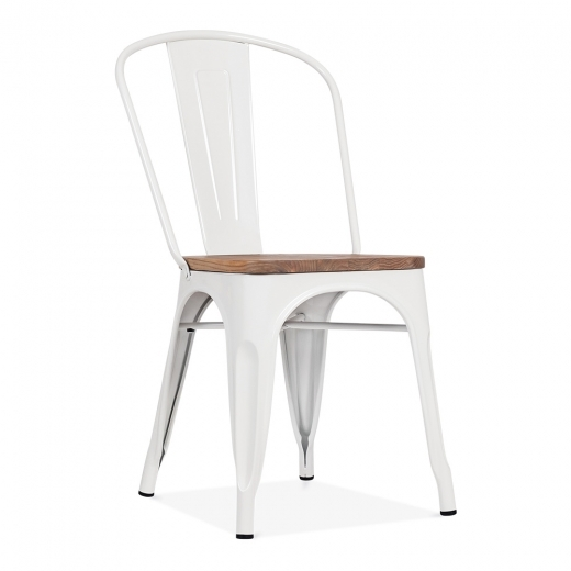 Xavier Pauchard Tolix Style Metal Side Chair with Wood Seat Option - White