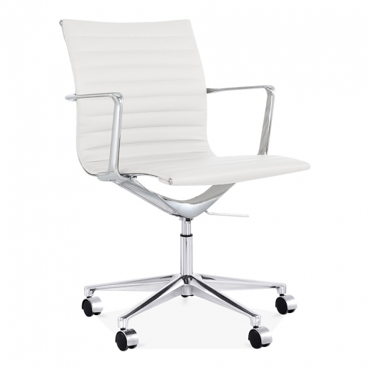 Cult Living Ribbed Office Chair with Short Back - White