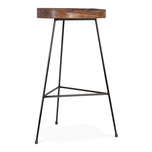 Cult Living Brixton Metal Bar Stool with Dark Wood Seat - Black 75cm