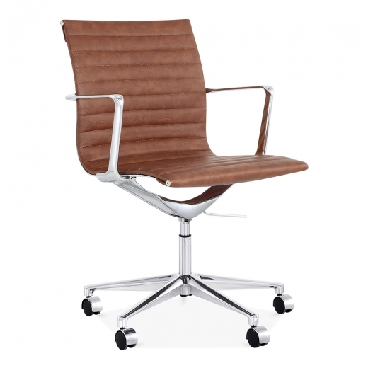Cult Living Ribbed Office Chair with Short Back - Coffee