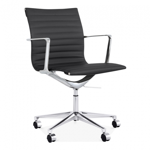 Cult Living Ribbed Office Chair with Short Back - Black