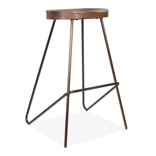 Cult Living Norse Metal Bar Stool, Solid Elm Wood Seat, Gunmetal 75cm
