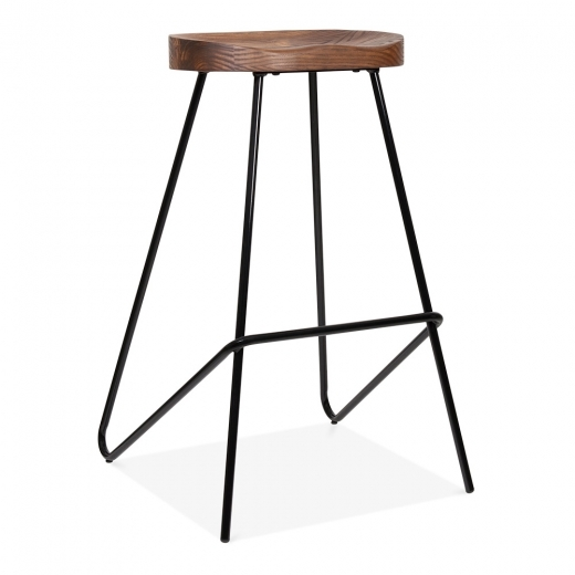 Cult Living Norse Metal Bar Stool, Solid Elm Wood Seat, Black 75cm