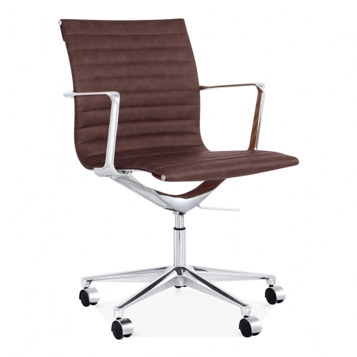 Cult Living Ribbed Office Chair with Short Back - Brown