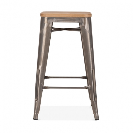 Xavier Pauchard Tolix Style Stool with Natural Wood Seat - Gunmetal 65cm - Clearance Sale