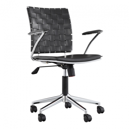Cult Living Ryder Lattice Office Chair, Black Faux Leather, Chrome