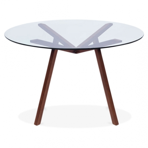 Cult Living Henrik Glass Top Dining Table - Walnut 125cm