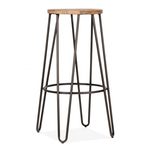 Cult Living Hairpin Stool with Wood Seat Option - Rustic 76cm