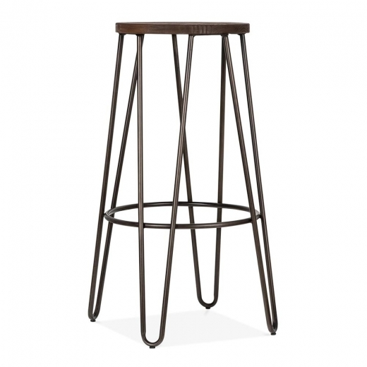 Cult Living Hairpin Stool with Wood Seat Option - Rustic 76cm - Clearance Sale