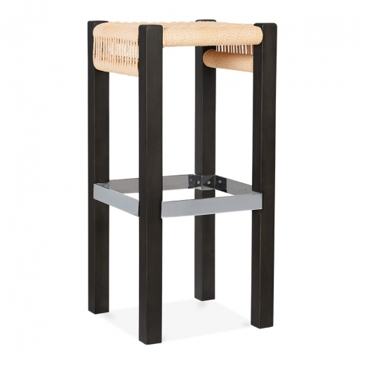 Cult Design Mayfair Wooden Bar Stool, Natural Weave Seat, Black 75cm