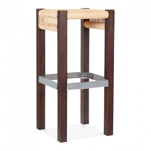 Cult Design Mayfair Wooden Bar Stool, Natural Weave Seat, Dark Brown 65cm