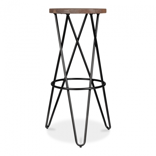 Cult Living Crossed Leg Hairpin Stool With Wooden Seat - Black 75cm
