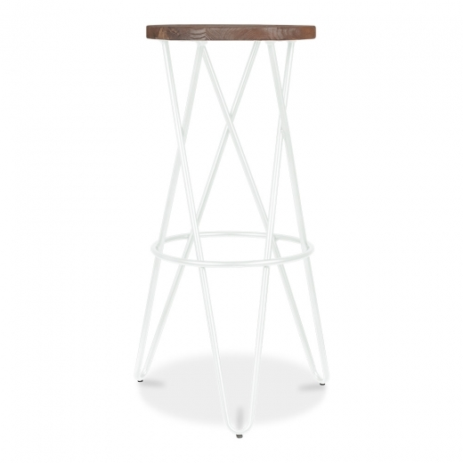 Cult Living Crossed Leg Hairpin Stool With Wooden Seat - White 75cm