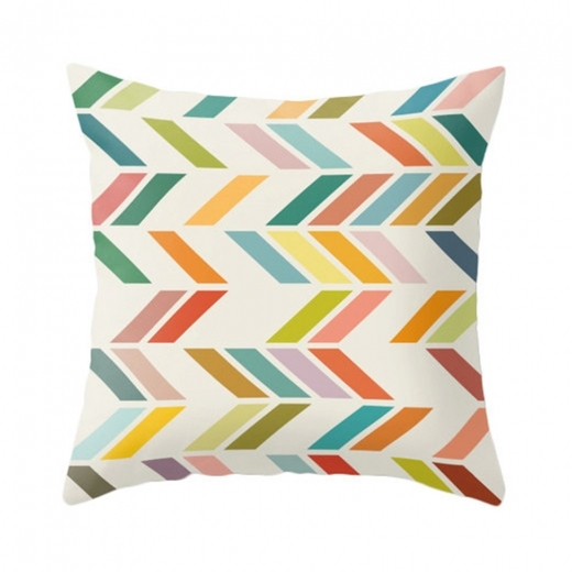 Cult Living Geometric Suedette ZigZag Cushion - Lime