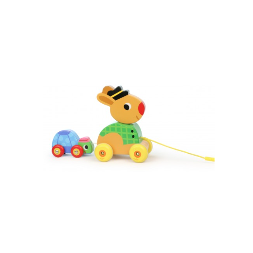 Vilac Hare and Tortoise Pull Along Musical Wooden Toy - Multi Coloured