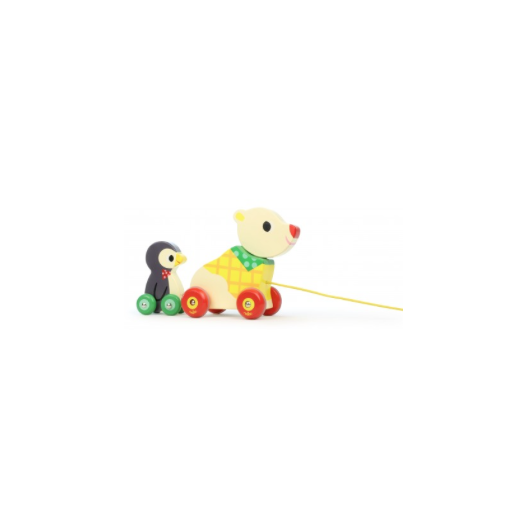 Vilac Bear and Penguin Pull Along Musical Wooden Toy - Multi coloured