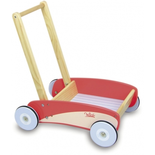 Vilac Wooden Push Along Trolley - Red