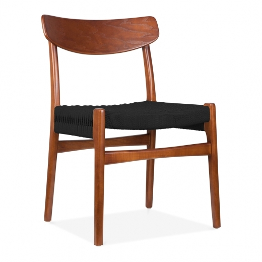 Danish Designs CH23 Wooden Dining Chair - Brown / Black Seat - Clearance Sale