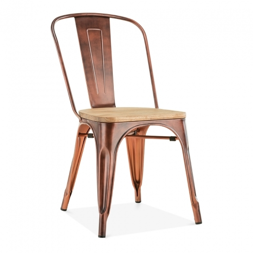 Xavier Pauchard Tolix Style Metal Side Chair With Natural Wood Seat - Vintage Copper