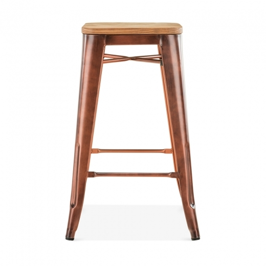 Xavier Pauchard Tolix Style Stool with Natural Wood Seat - Vintage Copper 65cm