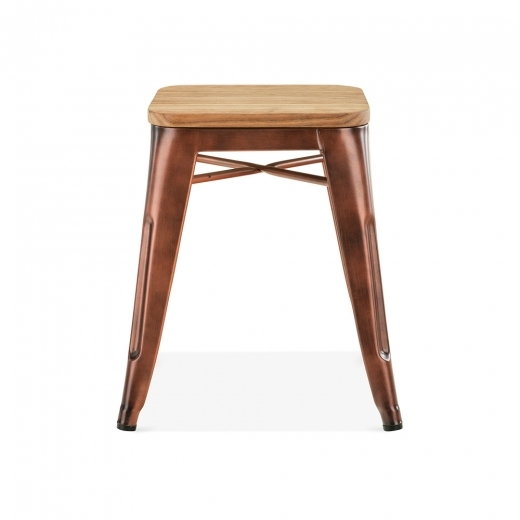 Xavier Pauchard Tolix Style Metal Stool with Natural Wood Seat - Vintage Copper 45cm