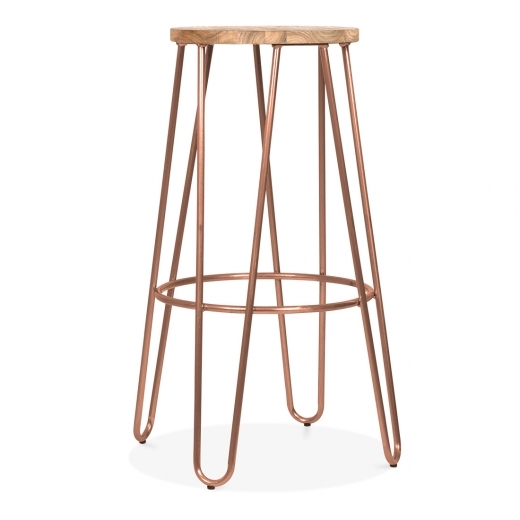 Cult Living Hairpin Stool With Natural Elm Wood Seat - Vintage Copper 76cm