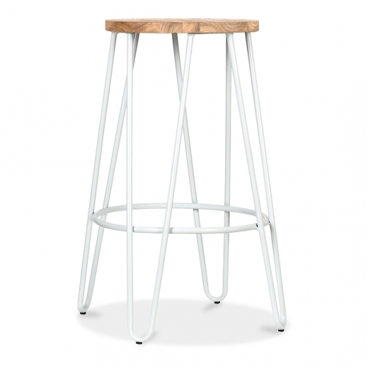 Cult Living Hairpin Stool with Wood Seat Option - White 66cm