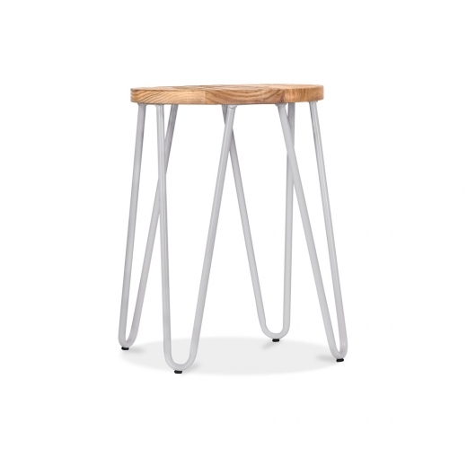 Cult Living Hairpin Stool with Wood Seat Option - Light Grey 46cm