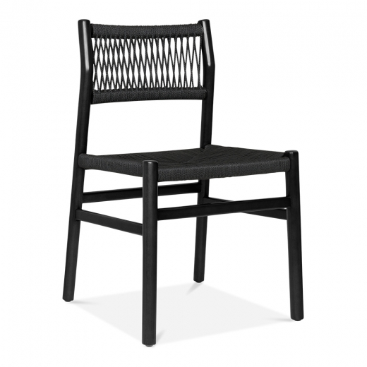 Cult Design Southbank Wooden Dining Chair, Black Rattan Seat, Black