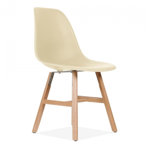 Eames Inspired DSW Side Chair With Windsor Style Legs - Cream