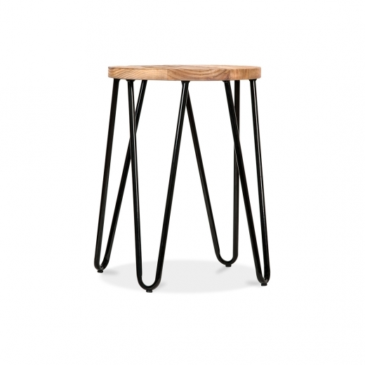Cult Living Hairpin Stool with Wood Seat Option - Black 44cm