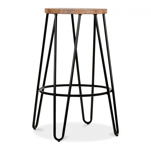Cult Living Hairpin Stool with Wood Seat Option - Black 66cm