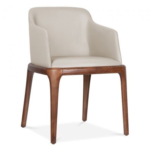 Cult Living Scarlet Dining Armchair with Faux Leather Seat - Beige