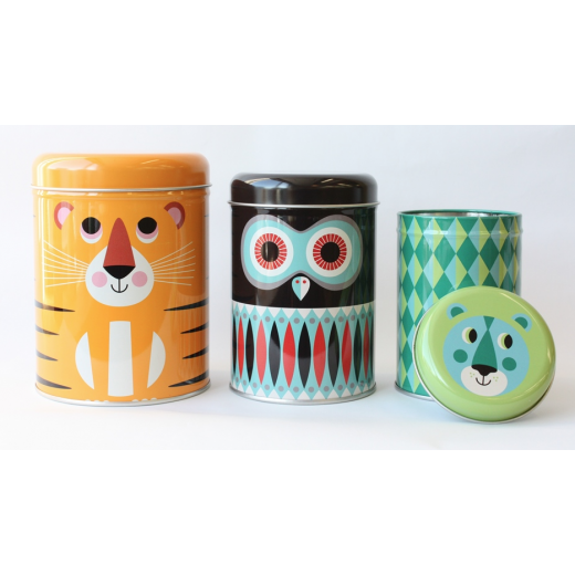 OMM Ingela P Arrhenius Animal Character Canisters Set of 3 Tins