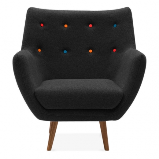 Cult Living Poet Lounge Armchair - Black / Multicolour Buttons