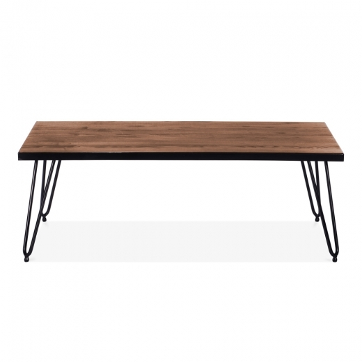 Cult Living Hairpin Rectangular Dining Table with Solid Wood Top - Gunmetal 122cm - Clearance Sale