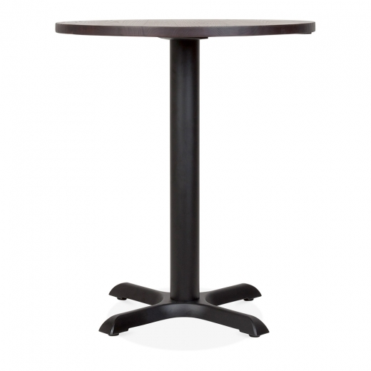 Cult Living Galant Round Cafe Table, Elm Wood Top, Walnut Finish & Black 70cm