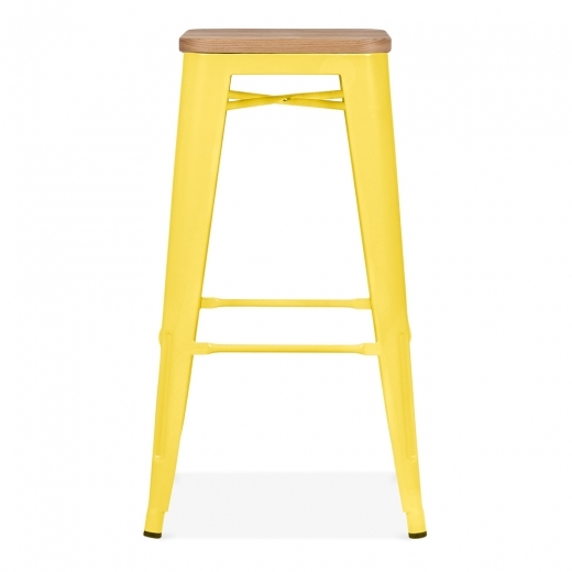 Xavier Pauchard Tolix Style Metal Stool with Natural Wood Seat - Yellow 75cm