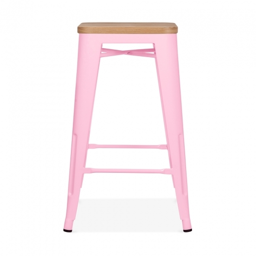 Xavier Pauchard Tolix Style Stool with Natural Wood Seat - Candy Pink 65cm