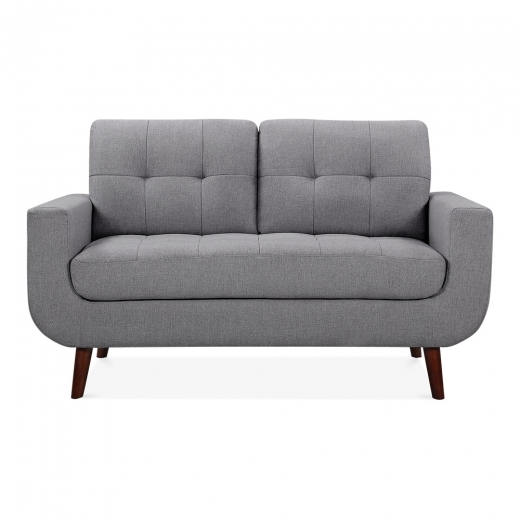 Cult Living Sander 2 Seater Small Sofa, Fabric Upholstered, Grey