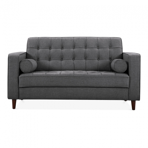 Cult Living Clifford 2 Seater Loveseat Sofa, Fabric Upholstered, Dark Grey