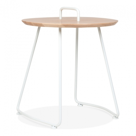 Cult Living Nova Side Table with Natural Wood Top - White