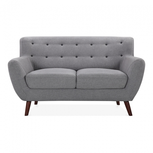 Cult Living Trent 2 Seater Small Sofa, Fabric Upholstered, Grey